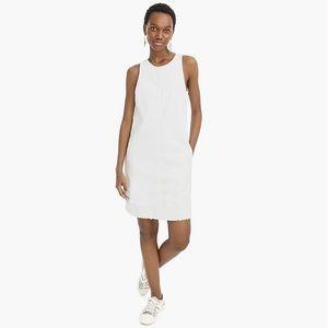 J crew g5594 sleeveless white denim shift dress
